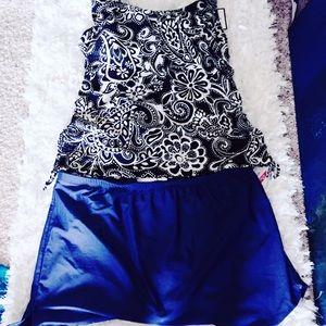 NWT Women's Plus 22W Swim Skirt Tankini Black